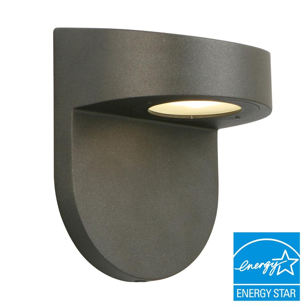 Hampton Bay Black Outdoor LED Wall Lantern with Frosted Glass by Hampton Bay