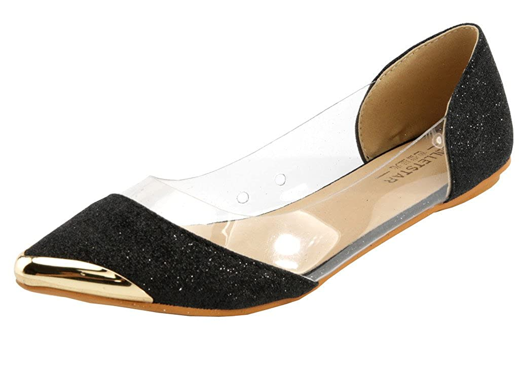 AgeeMi Shoes Donna Slip on Trasparente Ballerine Scarpe a punta con Metal Toe EuD15