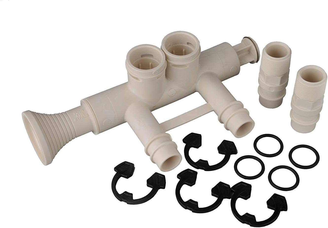 4 4 High Flow 1 Water Softener Bypass Valve Kit with 7345396 2 O-rings Adapters, Clips and