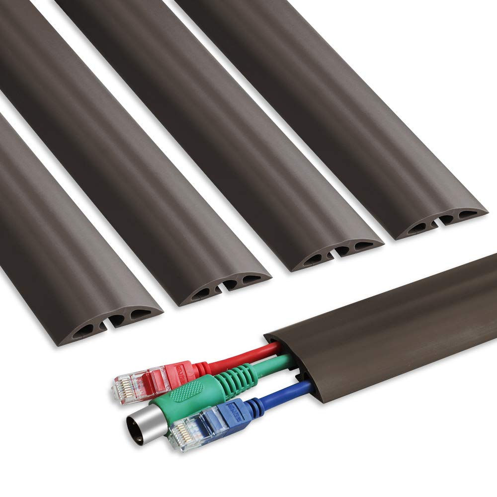 6.5 ft Floor Cable Cover - Straight Cord Protector - Durable Low Profile PVC Duct - Flexible 3 Channel Wire Cover in Workshop, Concerts, Office Home Doorway, 5X L15.6in W2in H0.5in, Dark Brown