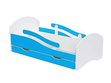 Lattenrost und Matratze und Kantenschutzleisten Wei/ß//Blau Bett Set inkl Clamaro LEO2 Kinderbett Jugendbett 140x70 mit Rausfallschutz beidseitig