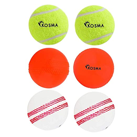 Kosma 6er Set Windball Cricketball Sport /& Freizeit Weiche Trainingsb/älle 2 St/ück - Wei/ß mit rosa Naht, Orange-Ebene, Tennis-Cricketball Flourecent Yellow