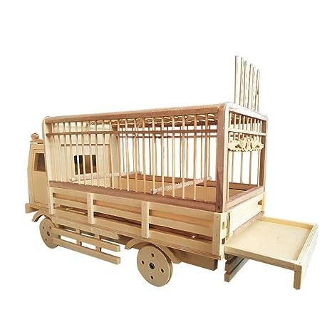 Productos de bambú Jaula de pájaros Modelo de automóvil Cuatro Ruedas Deslizamiento Nido de Ave Canario