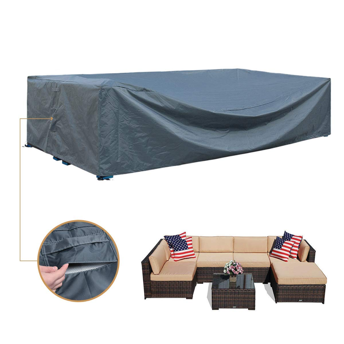 Mr.You Patio Cover,Patio Furniture Set Covers Waterproof Outdoor Furniture Lounge Porch Sofa Waterproof Dust Proof Protective Loveseat Covers