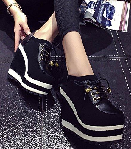Aisun Womens Fashion High Heel Wedge Gladiator Ankle Boots Black vgGKaEj2