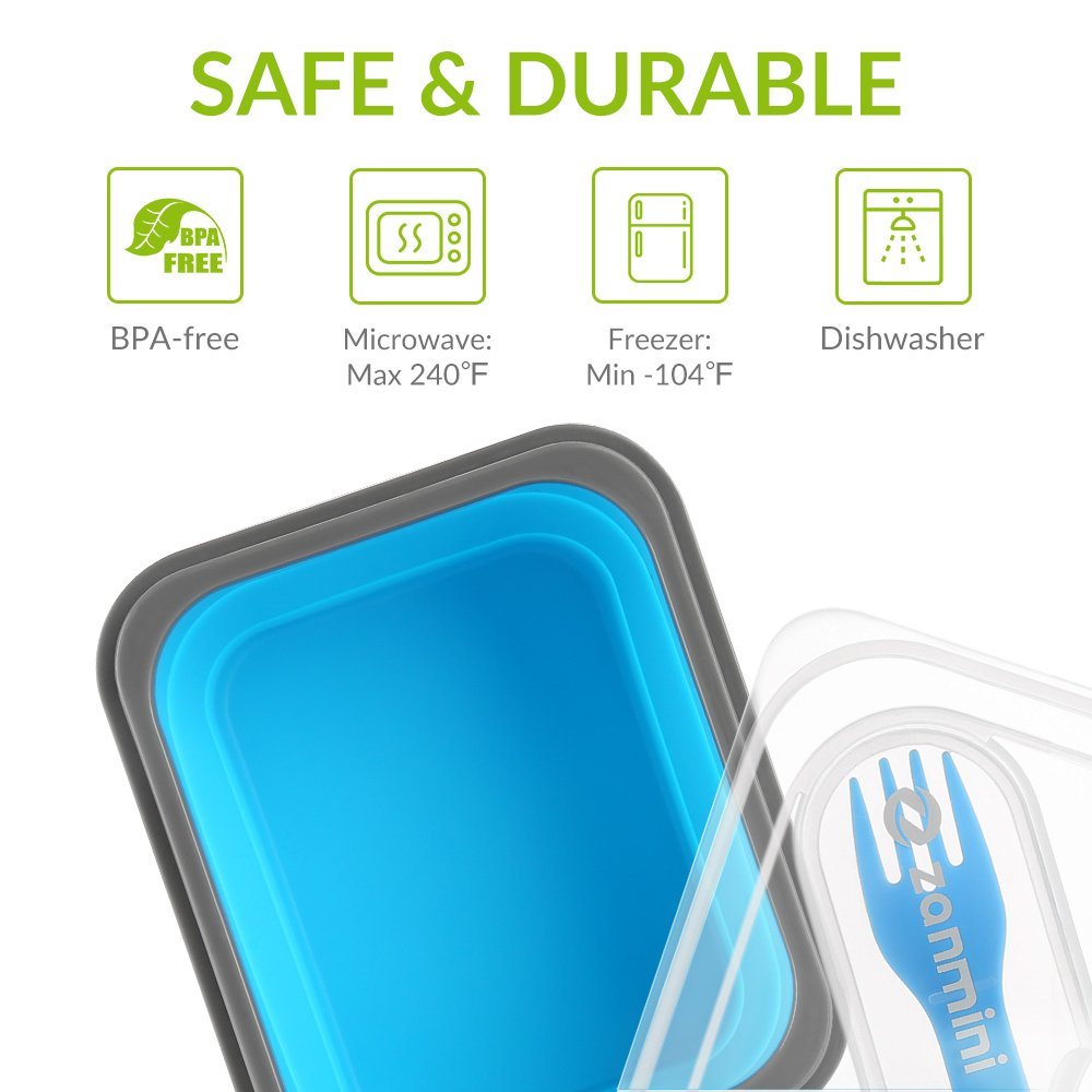 reutilizable Recipiente de silicona plegable para alimentos apilable recipiente con tapa contenedores de almacenamiento de alimentos con cuchara de horquilla sin BPA
