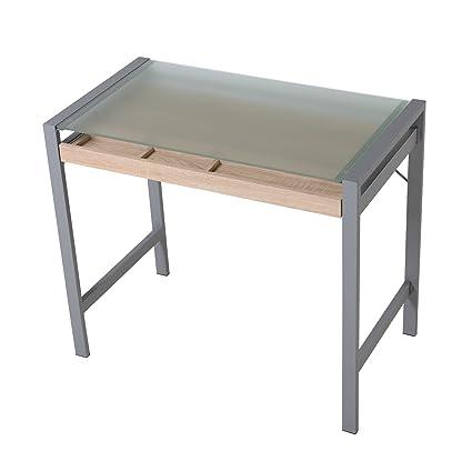 Amazon.com: HomCom Modern Wood Steel Frosted Glass Computer Desk ...