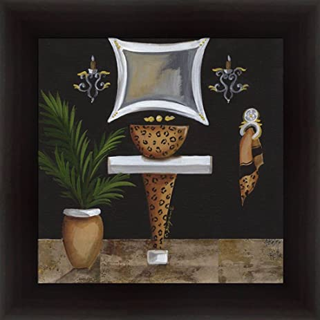 Safari Sink In Leopard Bathroom Décor 14.5x14.5 Framed Art Print Picture By  Cat