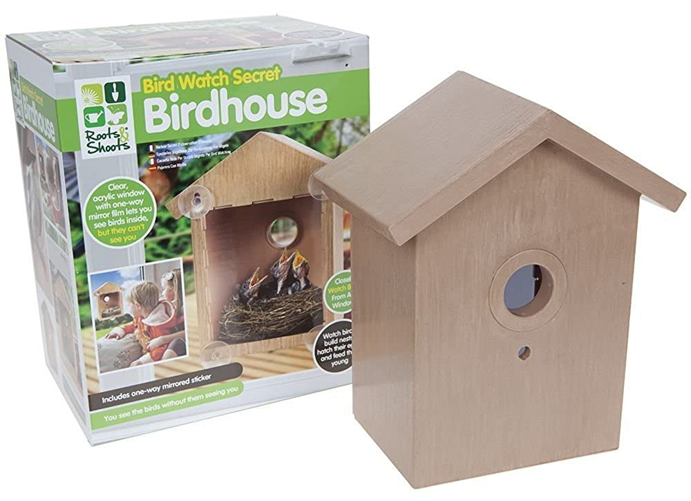 Clear Window Bird Feeder House See Through Nest Viewing Perspex Seed Glass.