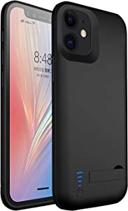 Battery Case for iPhone 12/12 Pro, 5000mAh Rechargeable Extended External Backup Battery Charger Case for iPhone 12 Pro & iPhone 12 (6.1 inch) Portable Power Bank Juice Charging Pack Case, Black