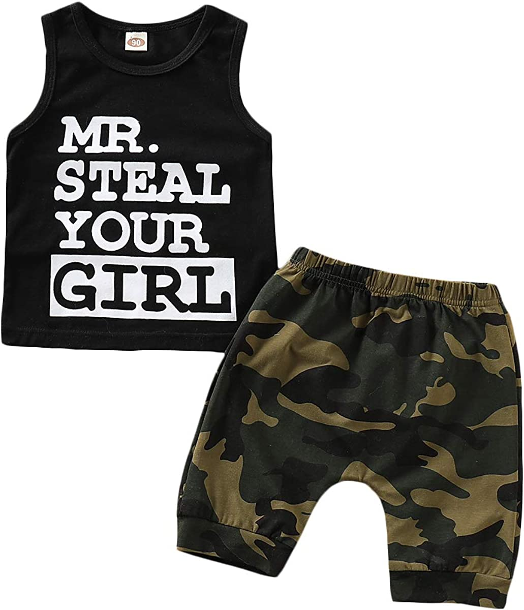 Camouflage Shorts Outfit Set AR-LLOYD Baby Boys Sleeveless Shorts Sets Infant Boy Mr Steal Your Girl Vest