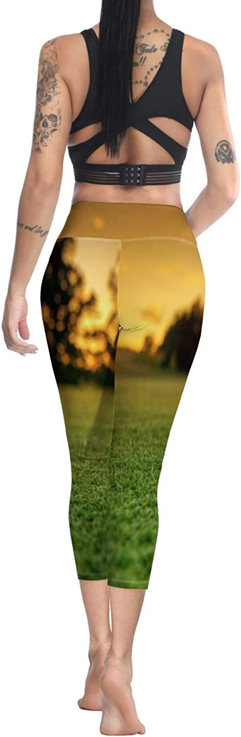 Printed Leggings for Women Woods Collection 3//4 High Waist Yoga Pants Sport Gym Leggings Workout