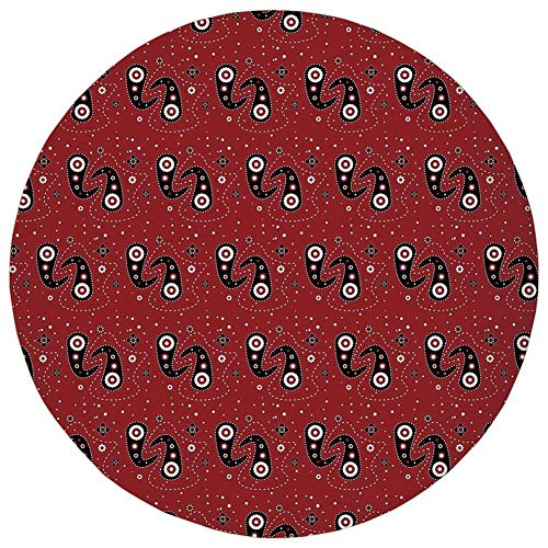 WEWELA Round Rug Mat Carpet,50th Birthday Decorations,Hilarious Catchphrase Age Fifthy Feeling Young Humorous,Red Black White,Flannel Microfiber Non-Slip Soft Absorbent,for Kitchen Floor Bathroom -