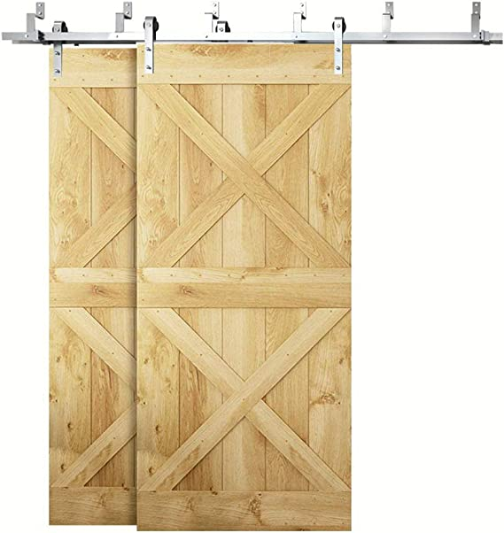 Hahaemall - Moderno soporte de pared para techo, rodillo de doblado de acero inoxidable para puerta corrediza corrediza de granero, kit de accesorios para colgar puertas dobles color plateado: Amazon.es: Bricolaje y