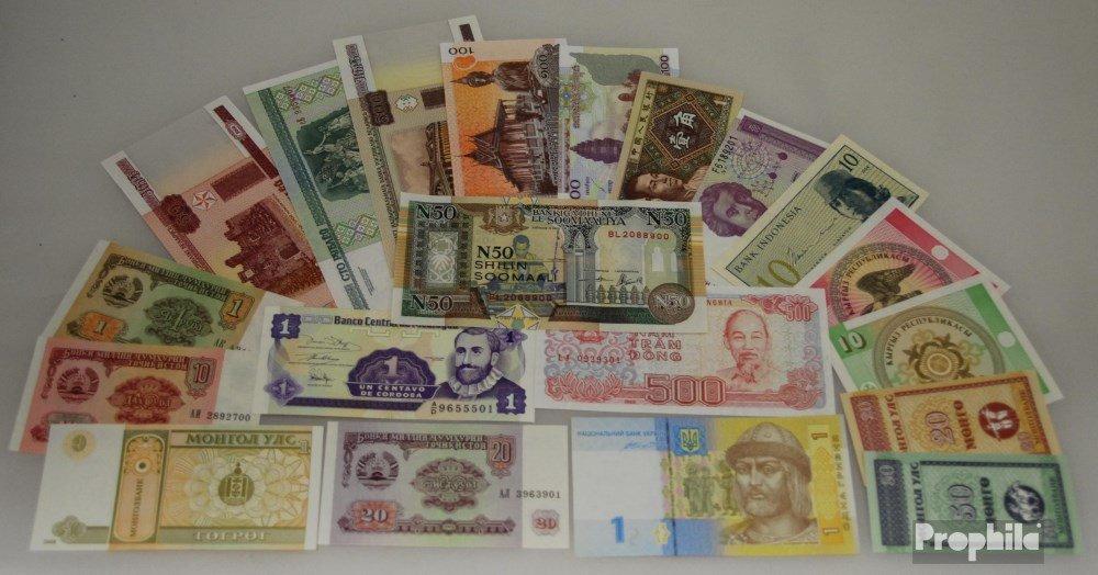 Alle Welt 20 verschiedene bankfrische Banknoten (Banknoten para los coleccionistas) Prophila Collection
