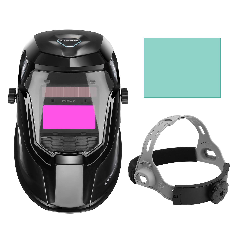 DEKOPRO Solar Powered Welding Helmet Auto Darkening Hood with Adjustable Wide Shade Range 4/9-13 for Mig Tig Arc Welder Mask by DEKOPRO (Image #3)
