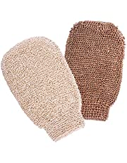 2 Packs Bath Shower Gloves Mitt for Exfoliating and Body Scrubber,(Natural Hemp and Natural Bamboo Fiber)Eco-friendly exfoliating tool for Men and Women