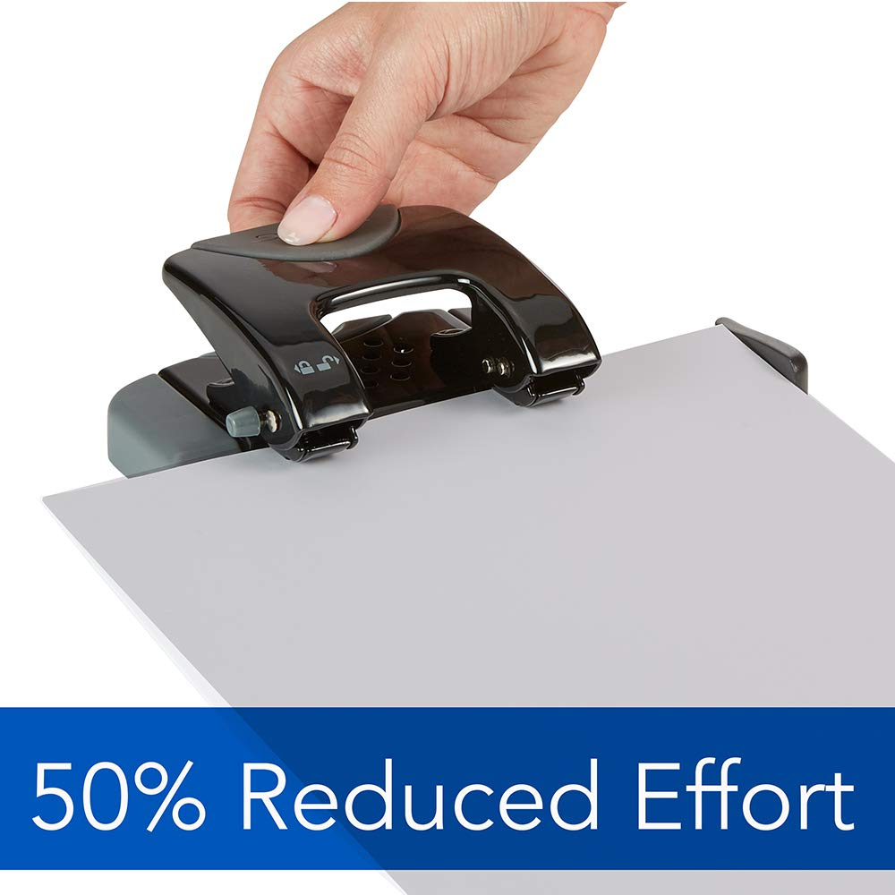 Swingline 2 Hole Punch Black//Gray SmartTouch 74135 Hole Puncher Low Force 20 Sheet Punch Capacity