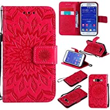 Case for Galaxy Core Prime, Abtory Flip [Flower] Kickstand Case with Card Holder & Folding Stand Magnetic Protective Phone Case Cover for Samsung Galaxy Core Prime G360 Red