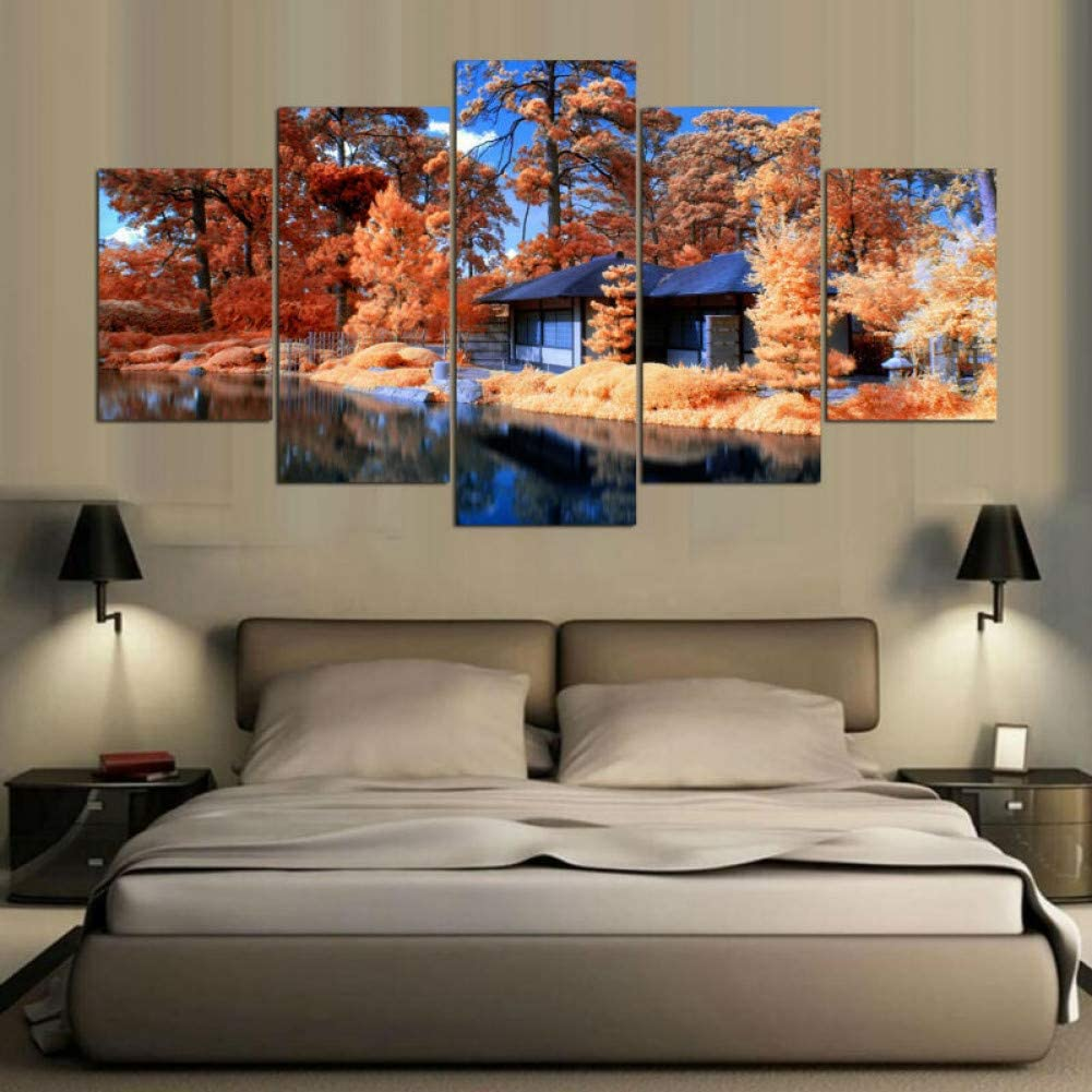Kgkbh 5 Canvas Paintings Home Decorating Pictures 5 Tree Panels And House Paintings On Canvas Posters And Wall Prints On Amazon Co Uk Kitchen Home