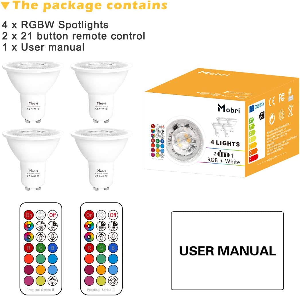 4 5W Dimmable Colour Changing Spot Light Bulb with Remote Mobri GU10 LED Bulbs