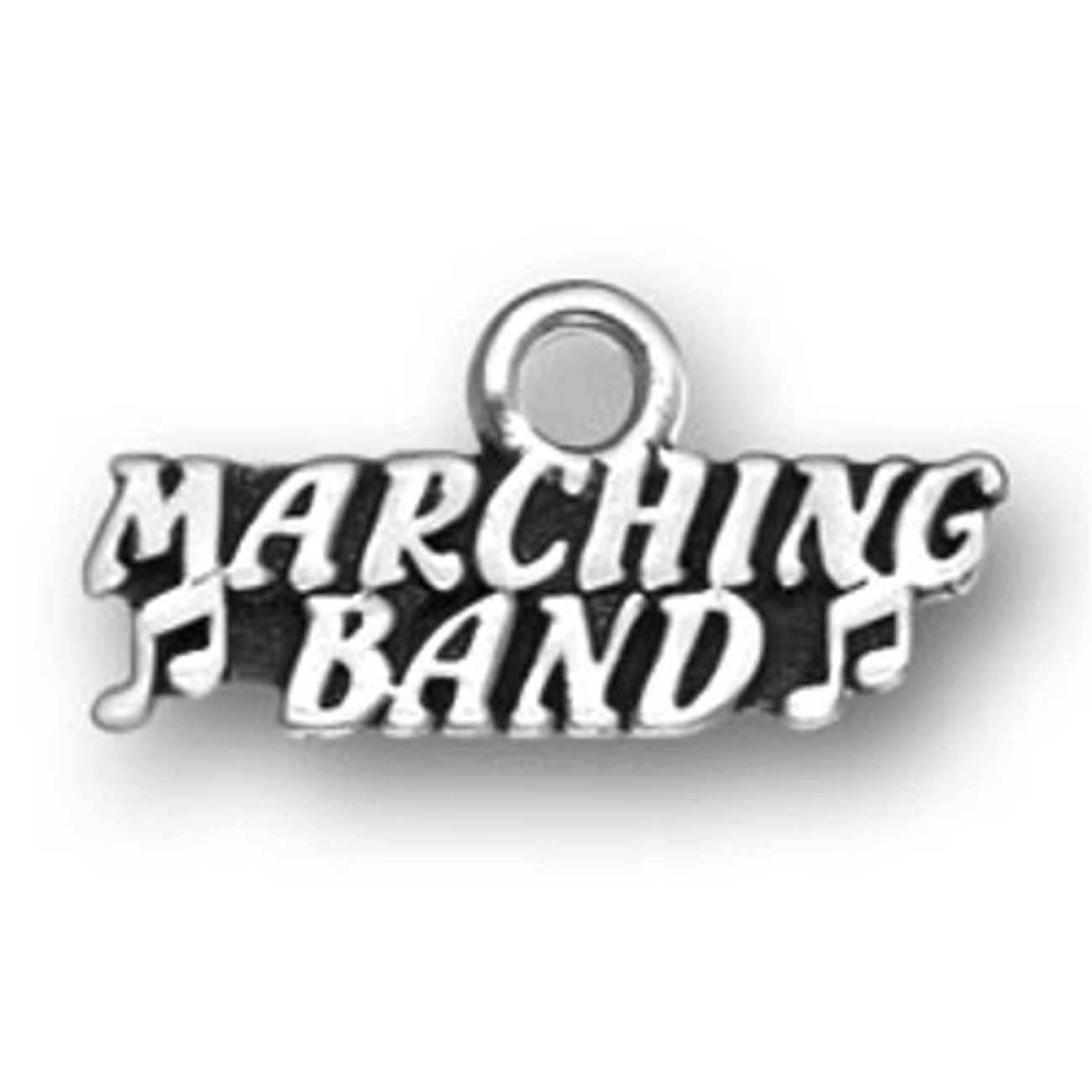 Sterling Silver Womens 1mm Box Chain MARCHING BAND Music Notes Word Pendant Necklace