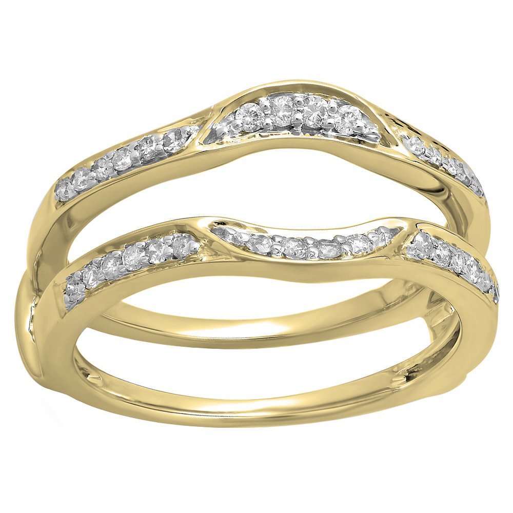 Silvercz Jewels 14k Yellow Gold Fn .50 Ct White Diamond CZ Round Solitaire Ring Guard Wrap Ring