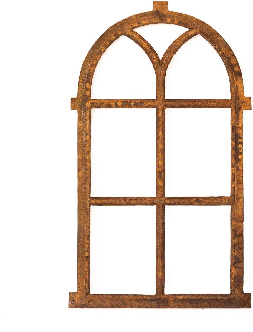 Gusseisen für Gartenmauern /& Stallfenster Rostiges Eisenfenster mit Rundbogen