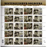 Distinguished Soldiers Collectible Stamp Sheet of Twenty 33 Cent Stamps Scott 3393-96