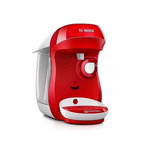 Bosch TAS1006 Tassimo Happy Cafetera Monodosis Multibebida, 1400 W, 0.7 litros, Acero Inoxidable, Rojo