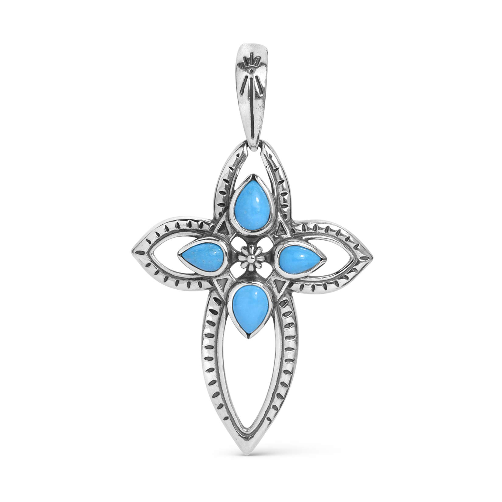 American West Sterling Silver Turquoise Gemstone Cross Pendant Enhancer