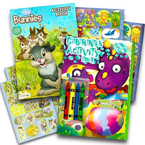 Easter Coloring Book Super Set for Kids -- 2 Spring Books with Stickers and Crayons (Featuring Dinosaurs and Disney Bunnies)