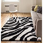 Modern Animal Print 5x7 ( 5 x 72 ) Area Rug Shag Zebra Black & Ivory Plush Easy Care Thick Soft Plush Living Room