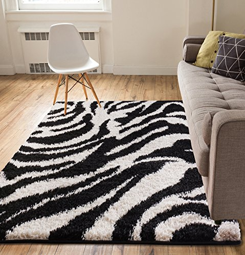 Modern Animal Print 7x10 ( 6'7'' x 9'10'' ) Area Rug Shag Zebra Black & Ivory Plush Easy Care Thick Soft Plush Living (Zebra Black Area Rug)
