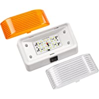 CZC AUTO LED RV Exterior Porch Utility Light, 11-18V Wide Voltage Range Replacement Lamp with on/off Switch, White Base with Two Lenses Clear and Amber, Low Consumption for 12V RVs Motorhomes Boats