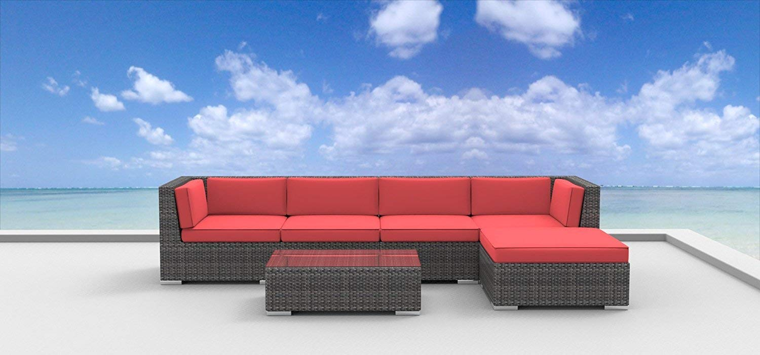 UrbanFurnishing.net Malo Patio Furniture, 6-Piece Coral Red