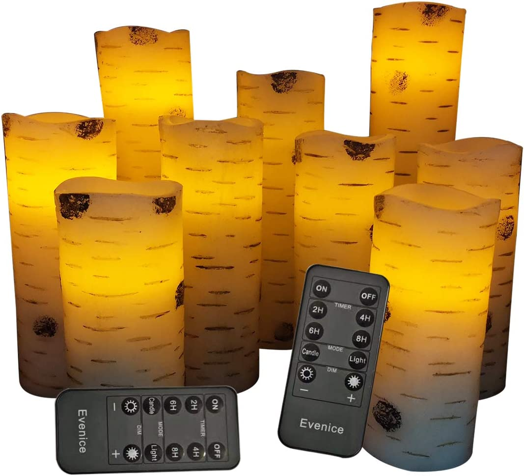 Flameless Candles Battery Operated Candles Birch Bark Effect 4 5 6 7 8 9 Set of 9 Real Wax Pillar LED Candles with 10-Key Remote Control 2 4 6 8 Hours Timer