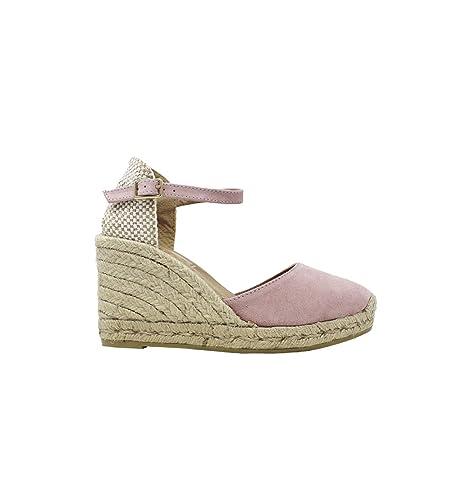 Gaimo - Cuña de Esparto remontado en Rosa - Rosa, 40: Amazon.es: Zapatos y complementos