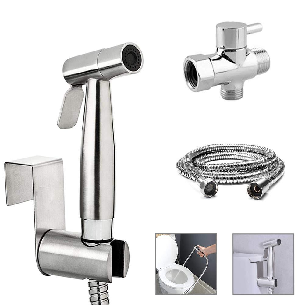 Handheld Bidet Sprayer, HIPPIH Cloth Diaper Sprayer for Toilet, Toilet Bidet Sprayer Kit, Toilet Sprayer with Premium Stainless Steel, Sliver by HIPPIH