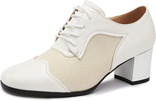 Stylein Retro Victory-Kiss Womens Mid-Heel Chunky Oxfords Dress Shoes
