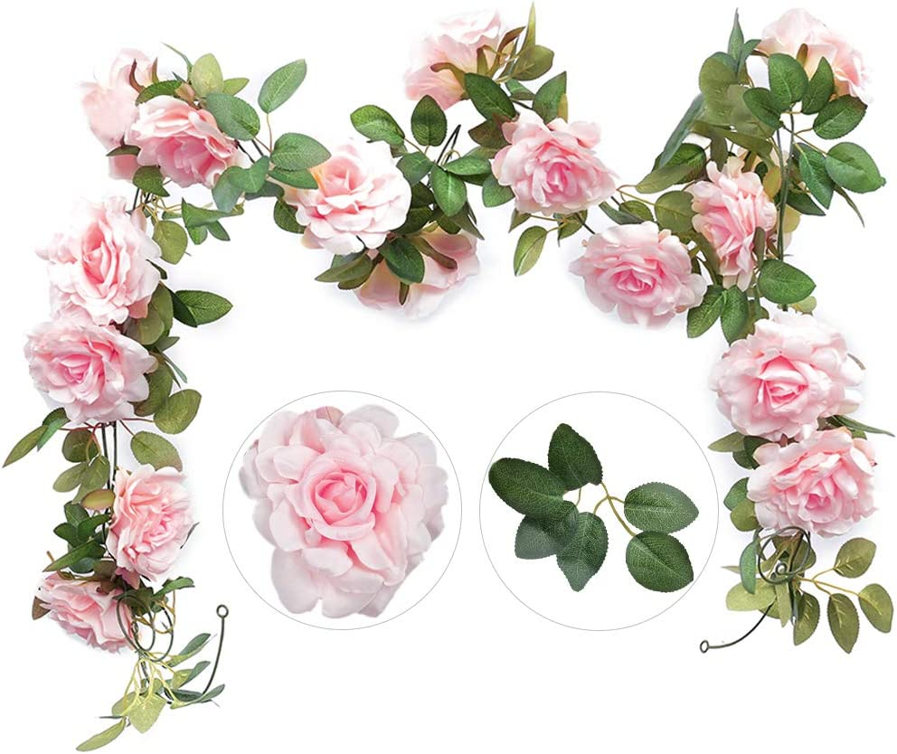 Felice Arts 2PCS(13.8FT) Artificial Rose Vine Silk Flower Garland Hanging Fake Roses Flowers Plants for Hotel Office Wedding Home Party Garden Craft Art Decor,Pink