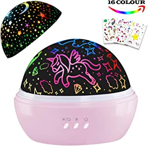 HONGKIDS Girls Night Light,Unicorn Night Light&Star Projector Gifts for Kids Toddlers, Toys for 1 2 3 4 5 6 Years Old,Baby Nursery Night Lamp 16 Colors Rotating Unicorn Lights for Girls Bedroom