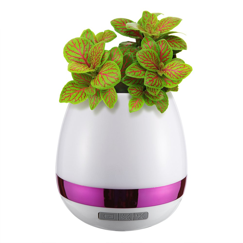 Fortune wireless music flower pot with bluetooth speaker,led multicolour nightlight music pot, whole bottle shining suitable for office,bedroom,desk,indoor and act as kid toy (Electroplated Pink)