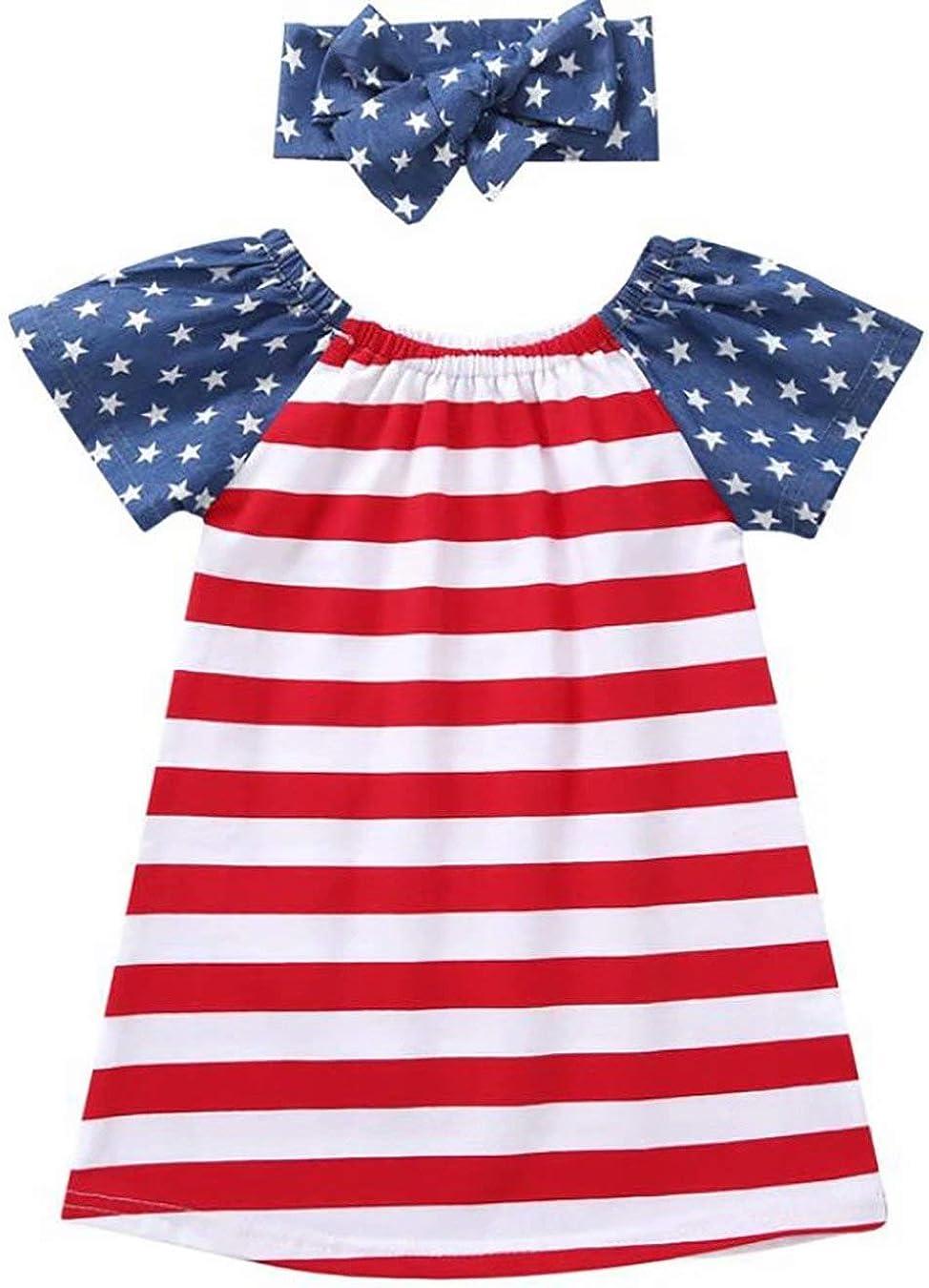 USA Flag Headband Summer Outfit Set KIDDAD Toddler Baby Girls American Flag Stars Stripes Print Shirt Dresses