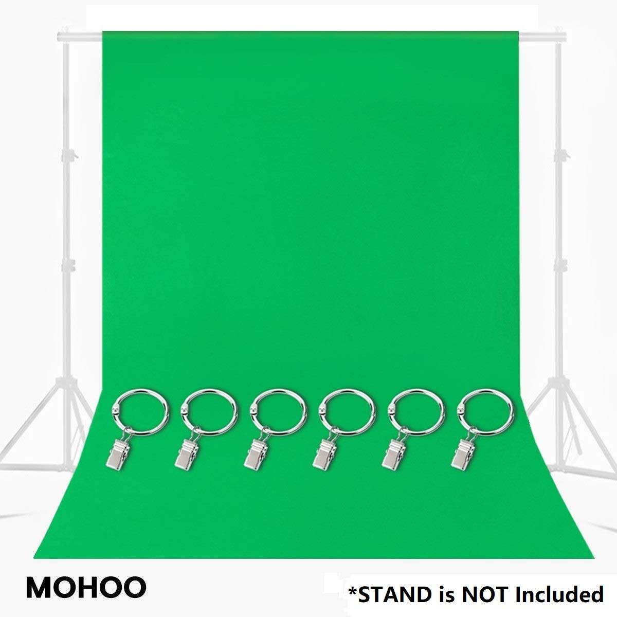 MOHOO 7x5FT Green Photography Backdrop, Green Backdrop with Ring Metal Holding Clips, Solid Color Green Screen Photo Backdrop, Studio Photography Props for Studio Video Photo Photo Shot by MOHOO