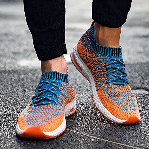 TUCSSON Hommes Chaussures de Course Sports Fitness Gym Running athlétique Baskets Flyknit Sneakers(FR Pointure 39-44) Orange fdIyMCB