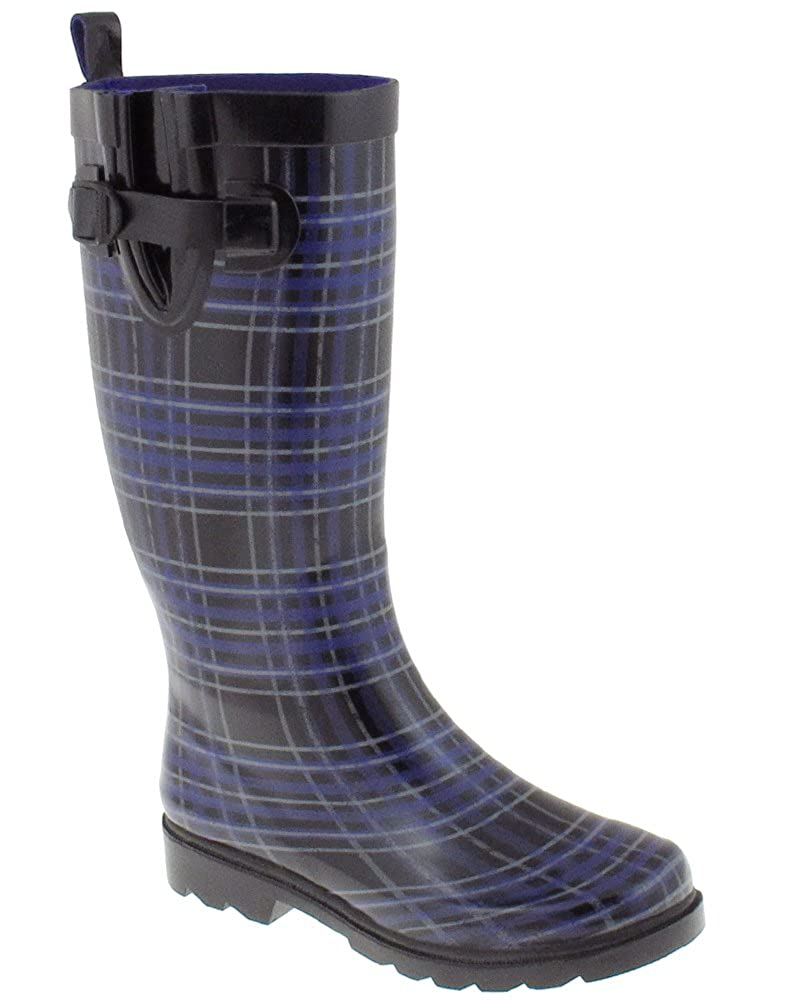Capelli New York Distressed Plaid Printed Ladies Tall Rubber Rain Boots RBT-3679-BL CMB-6