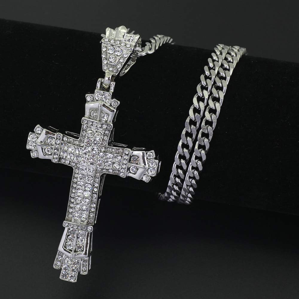 Metal Color: Gold-Color Davitu 2 Colors 5mm 30inch Stainless Steel Cuban Chain Hip Hop Rhinestone Cross Bling Iced Out Jewelry Pendant Necklace N609