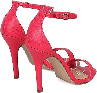 New Women Breckelles Sydney-45 Leatherette Open Toe Ankle Strap Stiletto Sandal