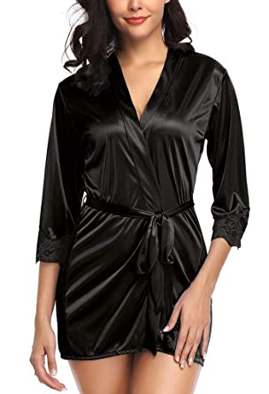 f96e4c6b0d679 Wantmore Womens Sexy Plus Size Night Robe Mini Kimono Dressing Gown Black  US 8-10